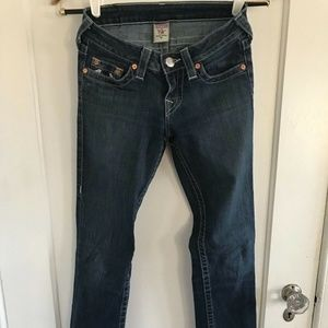 Womens TRUE RELIGION Med Dark Wash Jeans Straight
